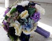 Silk bridal bouquet, purple, violet roses, cream roses, hydrangeas, blueberries, summer wedding