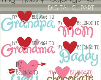 """Valentine Clipart """"My Heart Belongs To...""""  -Personal and Limited Commercial Use- Cute Valentine Clipart Titles"""