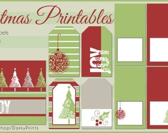 Christmas Printable Labels PDF - Printable Party Supplies - Holiday DIY Party