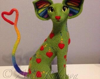Needle felted 100% wool doll Rainbow Oriental cat