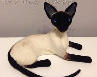 Needle felted 100% wool . Siamese cat