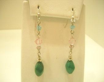 Vintage Pierced Faux Turquoise Dangle Earrings (1266)