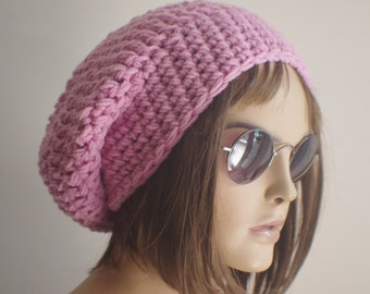 gift for women PINK Womens hat - chunky knit Slouchy pink  Beanie Slouch Hat Fall