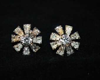 Rhinestone Flower Earrings Vintage 1950s Sparkly Wedding Any Occasion