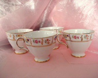 Vintage Shabby Teacups Royal Tara Bone China Made in Ireland Set of 4 Floral Cottage Chic Tea Cups