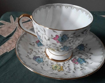Tuscan Colorful Floral Cup and Saucer, Swirl Porcelain Mint Condition