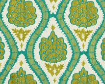 Dark Aqua Contemporary Floral Upholstery Fabric for Furniture - Chartreuse Textured Large Scale Pillow Cushion Euro Sham Cover Fabric Online