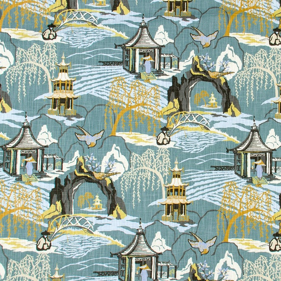 toile upholstery fabric aqua blue grey modern by popdecorfabrics. Black Bedroom Furniture Sets. Home Design Ideas