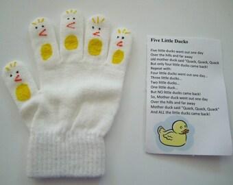 Five little ducks hand puppet, teacher gift, pretend play, story telling