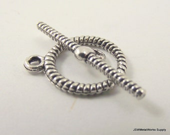 2 Rope Pewter Toggle Clasp, Ornate Silver Toggle Clasp