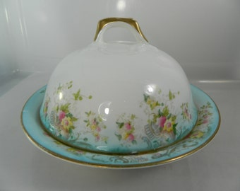 Vintage Porcelain Butter Dish, Covered Dish, Teal, Floral Cloche and Bowl Antique Butter Dish