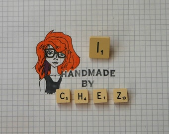 I Scrabble Tile Pin