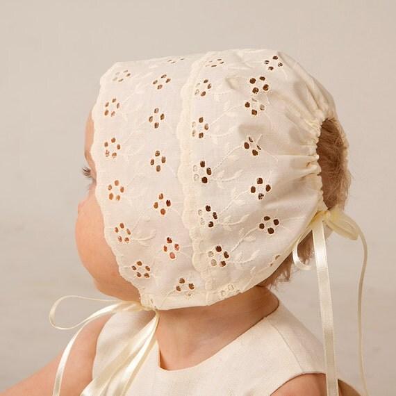 b b fille chapeau bapt me bonnet b b t cap ivoire coton. Black Bedroom Furniture Sets. Home Design Ideas