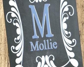 Monogram Printable Chalkboard-Blue-Nursery Name Print-Custom Name Print-Baby Name Print-Monogram Name Print-Initial Name Print
