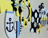 Yellow, Navy, and White Preppy Nautical Theme Hand Painted Personalized Wooden Letters for Nursery, Bedroom, or Party