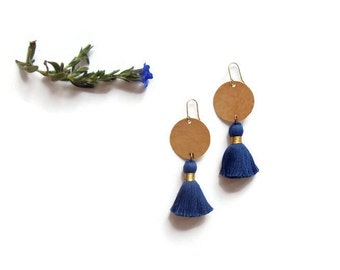 navy blue tassel earrings // boho brass jewelry