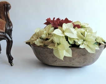 Large European Dough Bowl. Trencher. Handcarved, Antique Bowl. Festive Decor
