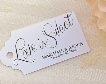 Love is Sweet Tag - Wedding Favor Thank You Tags - Personalized - Bridal Shower - Baby Shower - Custom Quantities are Available WT-005