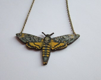Deaths head hawk moth chain necklace wooden laser cut pendant.