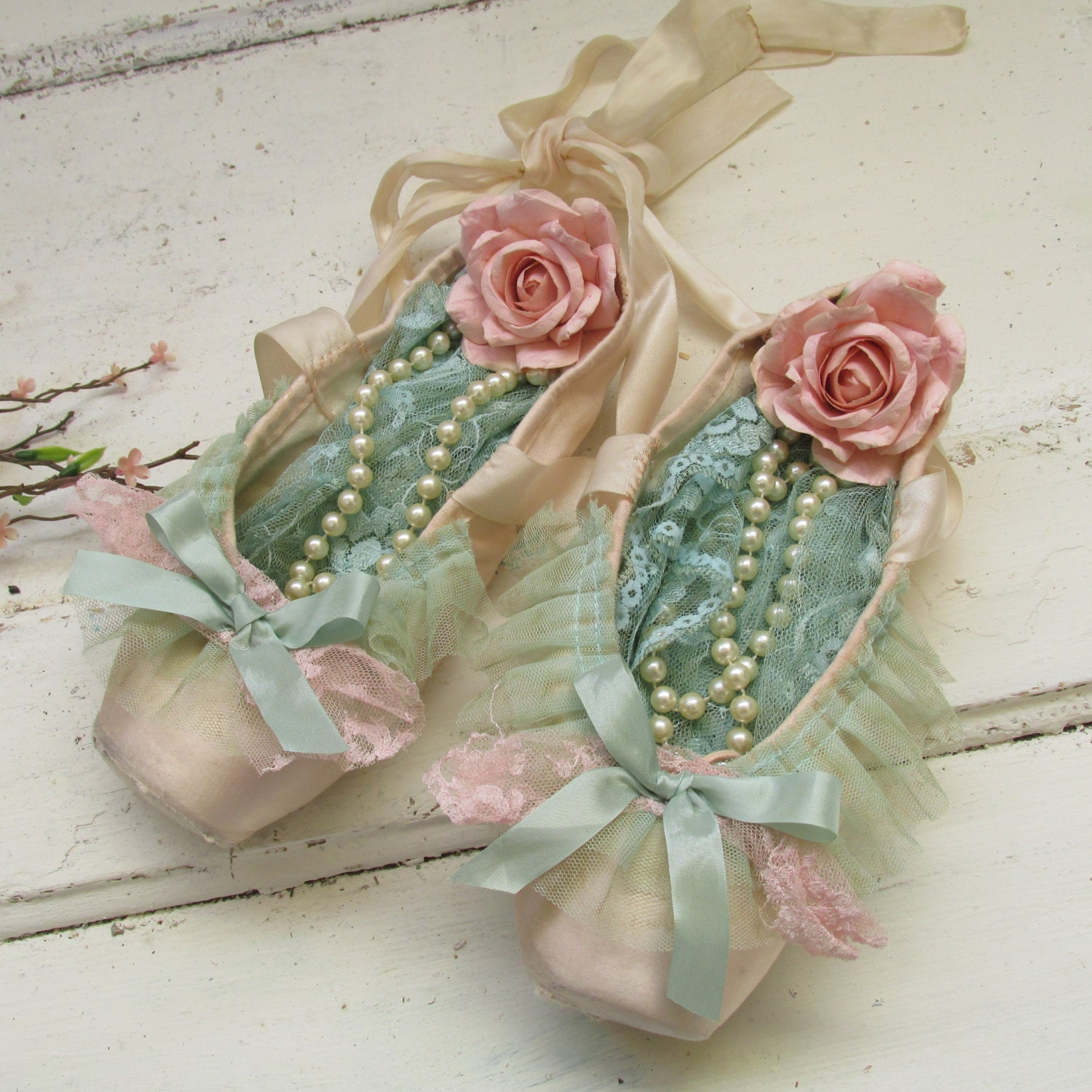 Tiny Farmhouse Decorated Pink Ballet Pointe Shoes Pink And Mint Green Shabby