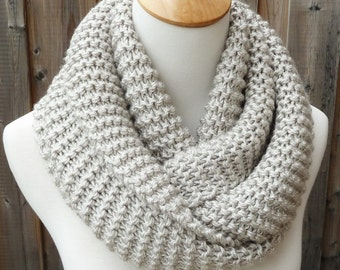 ON SALE - Natural Infinity Scarf - Off White and Gray Infinity Scarf - Chunky Knit Scarf - Ready to Ship