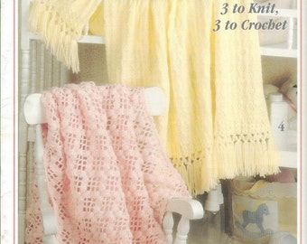 Rock Me Gently Baby Afghans - Leisure Arts #2542 - Crochet Baby Pattern Afghan, Knit Baby Afghan, Crochet & Knit Baby Blanket, Crib Bedding