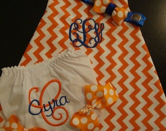 Gator Baby Dress, Bloomers, and Bow