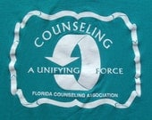 Vintage 1980s Florida Counseling Association Teal T Shirt M/L Russell Jerzees