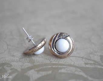 White Gold stud earring / Coco Chanel Mademoiselle Style / upcycled vintage button / bridal bridesmaid wedding special occasion