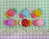 6 pcs Pokka Dot Wrapped Candy Cabochons, Assorted Color/Mixed Wrapped Sweet Cabochons, Decoden Cabochons  C057