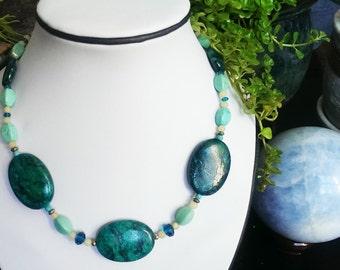 Lemon Jade Semi Precious Turquoise Howlite Jewelry Set - Necklace Dangle Earrings - Classy Simple Jewelry Set