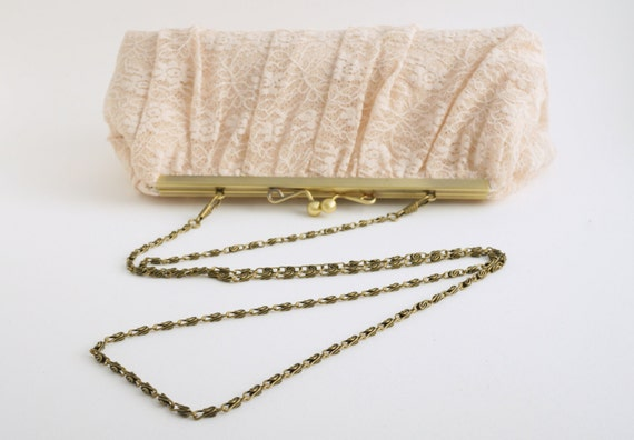 Nude Lace Bridal Clutch Handbag - Romantic Evening Bag - Bridesmaid Purse - Gift - Includes Chain - Custom Options - Made to Order