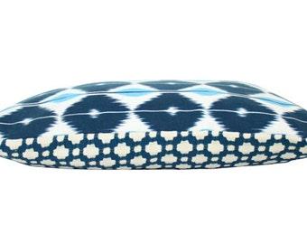 Schumacher Sarong and Blue Betwixt Lumbar Pillow Cover
