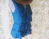 Pretty blue lace ruffled blouse, summer top, aqua lace boho chic shirt, hand dyed, medium, refashioned clothes