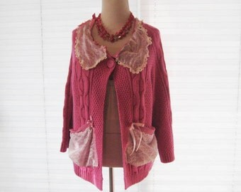 Dark pink lace cardigan, upcycled sweater, refashioned clothing, cable knit romantic cardigan, medium to large