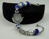 ZETA PHI BETA European Watch Bracelet Greek Sorority Blue White Accessory Gift
