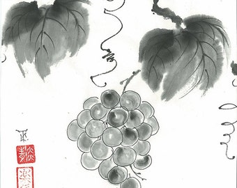 "Original Art ""Grapes""- Japanese sumi-e - asian painting - Wall decor - home decor - black and white - minimalist art - kitchen decor"