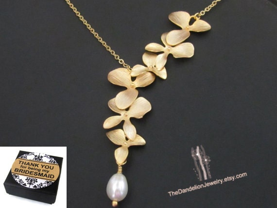 Flower Necklace, Jewelry, Bridesmaid Gift, Lariat Necklace, Message Card