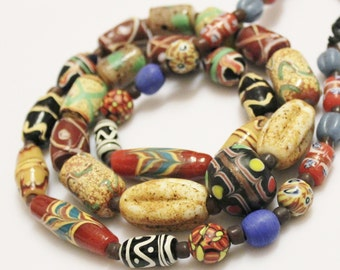 Indonesian Glass Beads Mix, Unique Lampwork Glass Beads, Colorful Java Beads (G63)