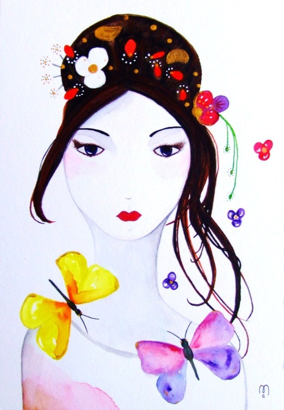 portrait femme peinture originale aquarelle encre visage. Black Bedroom Furniture Sets. Home Design Ideas
