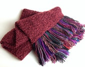 Crimson Red Boucle Knit Fabric Sewn Double layer Scarf with Multi Coloured Hand laid Fringe