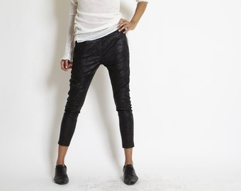 Black leather like pants- Shiny black Skinny- rocker pants- party skinny