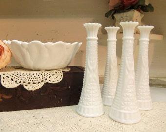 5 Piece Vintage Milk Glass Bowl and Bud Vase Set or Lot Vintage Wedding  B1020