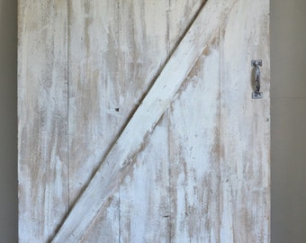 Custom Made Vintage Inspired Sliding Barn Door - Shabby Chic White