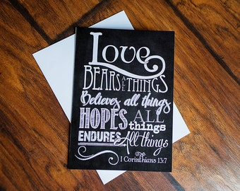 Scripture Art - 5x7 Folded Greeting Card on linen paper (with envelope)