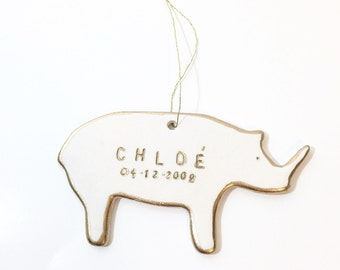 Rhino Personalized Ornament White And 22k Gold Minimal Custom Holiday Christmas Gift Keepsake Decor Porcelain Pottery MADE TO ORDER