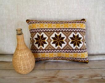 Vintage Throw Pillow, Cross Stitch Pillow, Needlework Pillow, Boho Pillow, Retro Pillow, Brown and Yellow, Mid Century Pillow, 70s Pillow