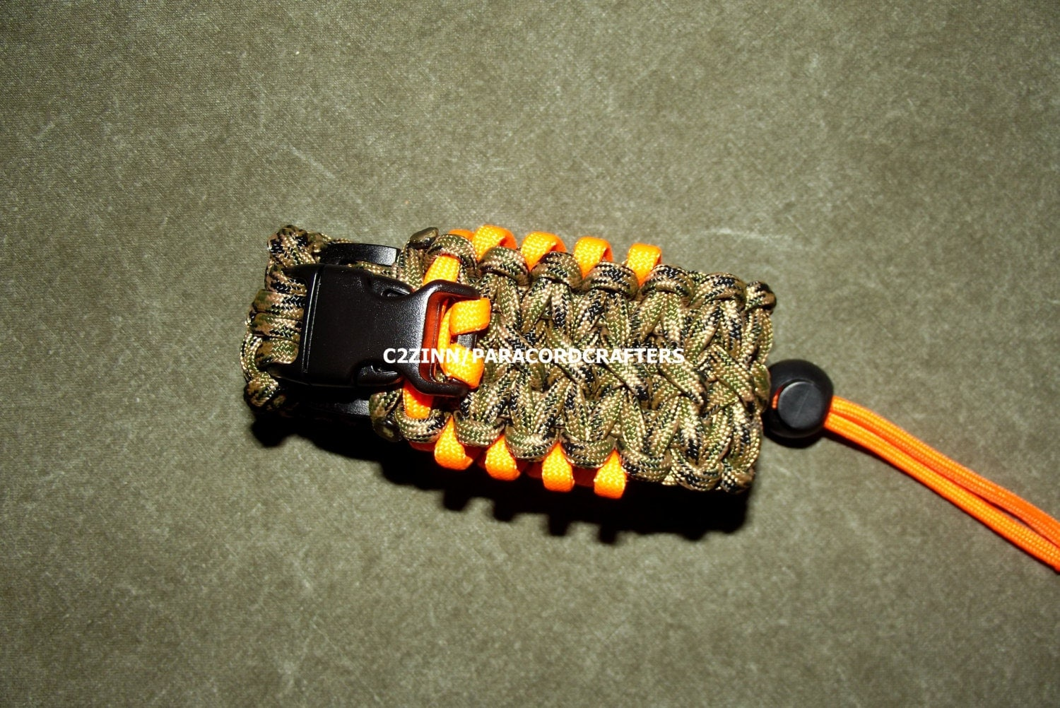 Camo and orange paracord utility pouch adj us made mil by for How to make a paracord utility pouch