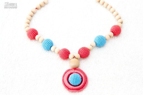 Teething Necklace - coral, turquoise - crochet sling necklace, teething wooden ring