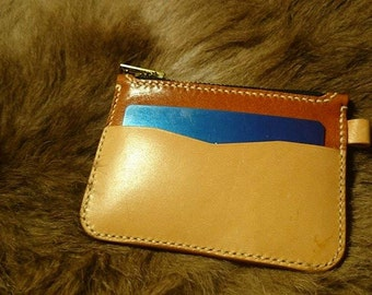Vegetable tanned leather + calf leather coin pouch